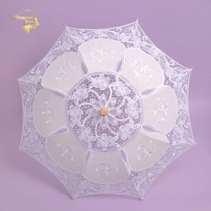 Image 5 - Hot Sale White Handmade Embroidered Lace Parasol Sun Umbrella Bridal Wedding Birthday Party Decoration Wedding Decor BU99037