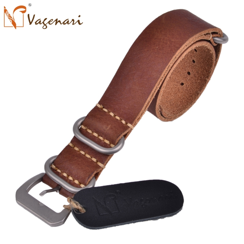 189 Soft Watch Strap 20mm Dark Brown Handmade Italian Genuine Leather Nato with Buckle