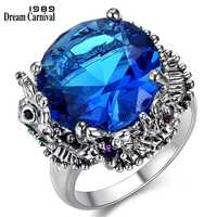 DreamCarnival 1989 New Big Blue Cubic Zirconia Ring for Wedding Anti Rhodium Color Royal Crown Look Women Party Jewels WA11544