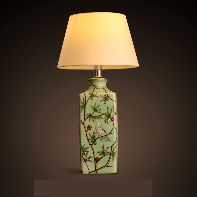 Modern Chinese ceramic table lamp residential lighting bedroom bedside lamp  decorative cloth art lamp table light ZA829