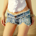 New Fashion 2016 Ripped Jeans Shorts Summer Sexy Hot Low Waist Denim Shorts Women Casual Rivet Ripped Jeans Shorts Women
