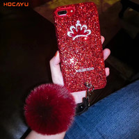 HOCAYU Fancy Bling Gliter Crown Fur Ball PC Cover Cases Girl Phone Cases Accessories Mobile Phone Shell for IPhone X Anti Choque