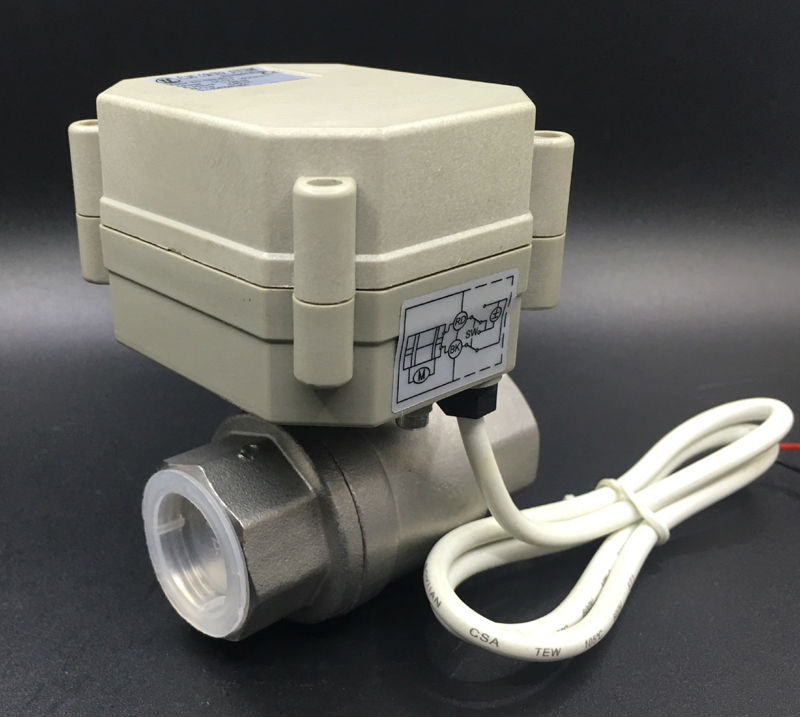 High Quality Metal Gear SS304 3/4'' Motorized Valve TF20-S2-A 2 Way DN20 Electric Valve DC9V-35V 3/7 Wires For HVAC Water tf20 s2 c high quality electric shut off valve dc12v 2 wire 3 4 full bore stainless steel 304 electric water valve metal gear page 9