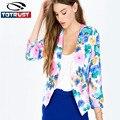 Plus Size Do Vintage Floral Jaqueta Blazer 2016 Primavera de Moda de Nova Curto Senhoras Blazer E Casacos Da Mulher Ternos Blaser De Femininos