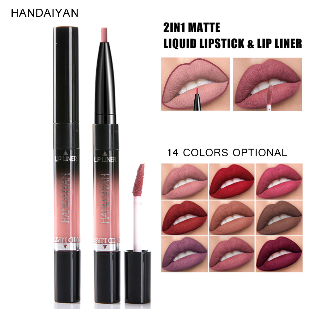 HANDAIYAN 14 colour 2 In 1 Matte Liquid Lipstick&lip Liner Nutritious Moisturizer Lip Gloss Easy To Wear Lip Stain Makeup N45 1