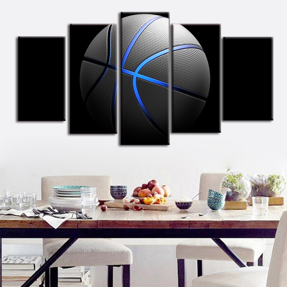 5 Piece Canvas Print Wall Art Blue Light Basketball For Living Room Modern Sports Home Boys Living Room Bed Room Decor Drop ship