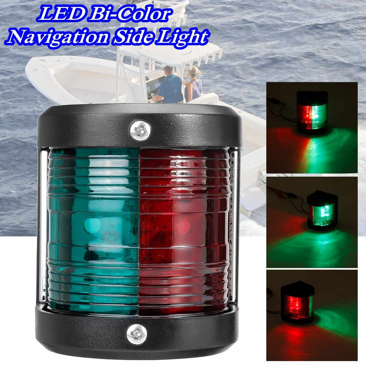 1Pcs Stainless Steel 12V LED Bow Navigation Light Red Green Mini  Sailing Signal Light For Marine Ship Boat  Yacht Warning Light