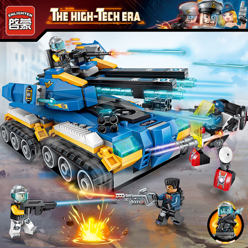 Enlighten High Tech Educational Building Blocks Toys For Children Gifts Military Tank Hero Gun Robot Figures Weapon Stickers