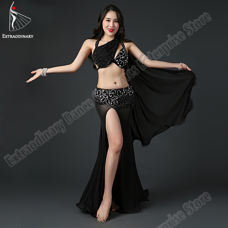 New Luxury Belly Dancing Egyptian Costumes Oriental Women Professional Bra Bead Long Skirt 2pcs Carnival Clothing