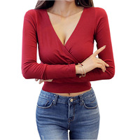 Deep V Neck Korean Tshirt Women 2017 Casual Tops Cotton Long Sleeve Crop Top Sexy Short