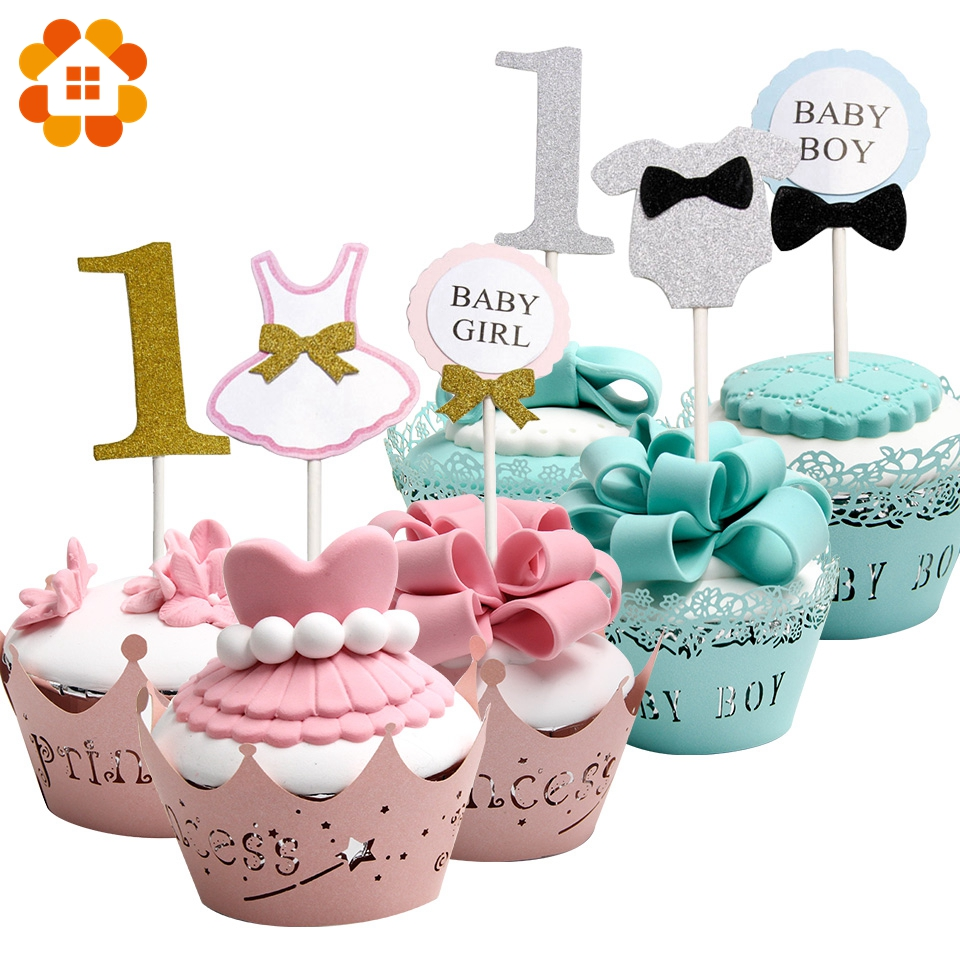 12pcs Cupcake Toppers Baby Boy&Girl Paperboard Crafts Decoration Baby first Birthday Party DIY Cake Topper Supplies