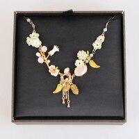 France Les Nereides Enamel Glaze Copper Trendy Lily Lily Flower Strawberry Friut Gem Women Necklace