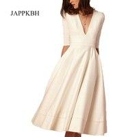 JAPPKBH Vintage Autumn Summer Dress Women Casual Elegant White Ball Gown Ladies Dresses Sexy V Neck Long Party Dress Plus Size