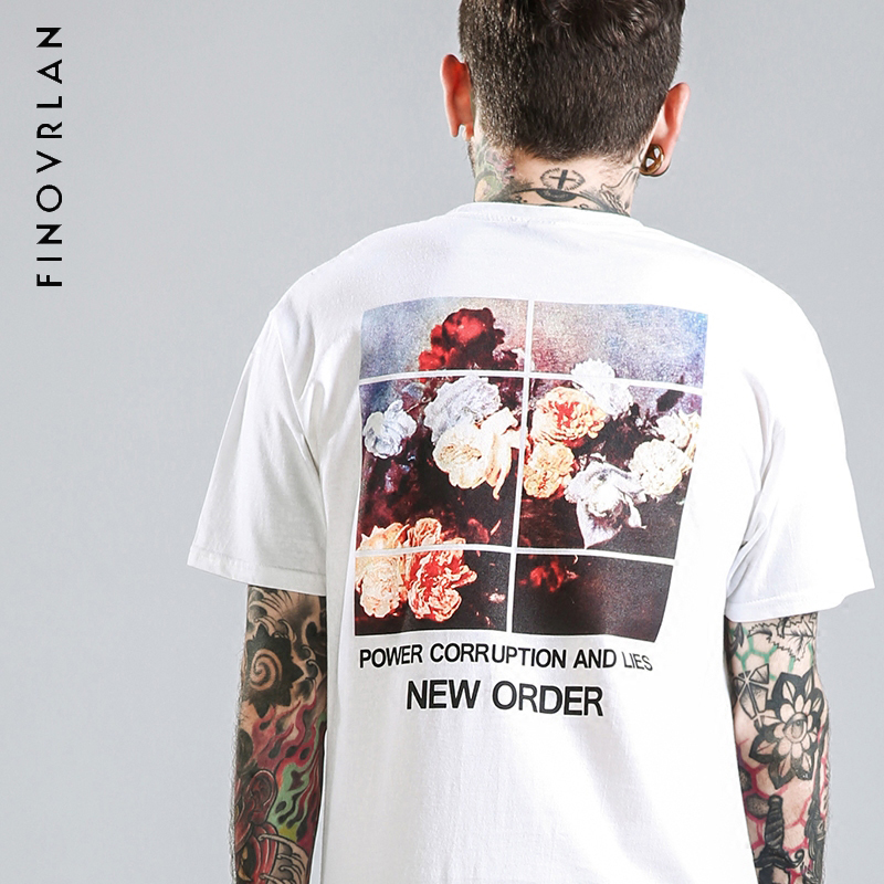 2018 Summer T Shirt Men hip hop t shirt 100% Pure Cotton Print Curl Hem New Fashion Flor ...