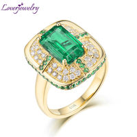 Solid 18K Yellow Gold Green Emerald Wedding Diamonds Rings Good Quality Genuine Gemstone Fine Jewelry For