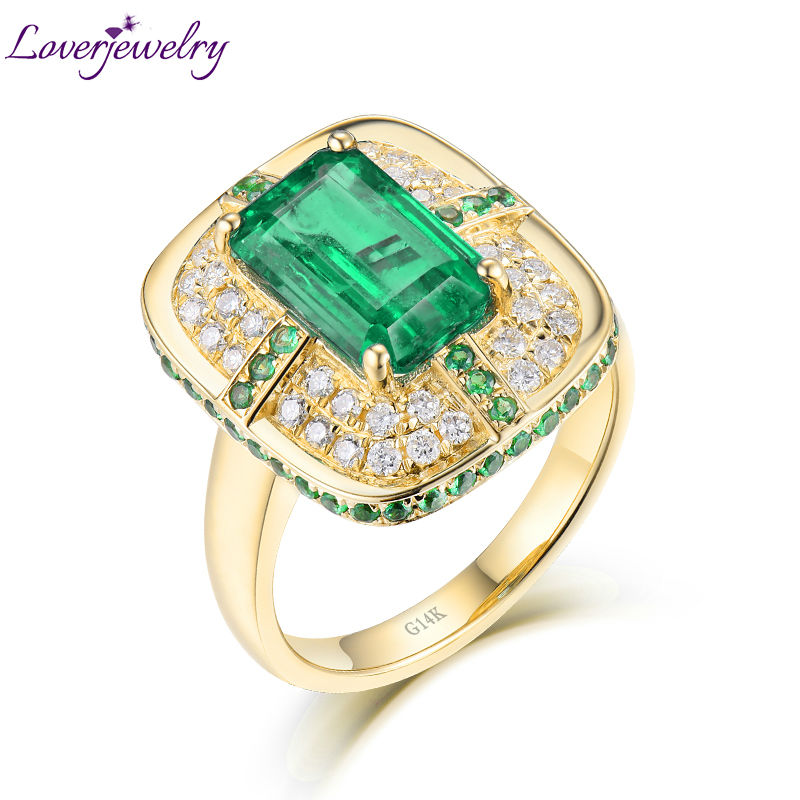 Solid 18K Yellow Gold Green Emerald Wedding Diamonds Rings Good Quality Genuine Gemstone Fine Jewelry for Women Promised Gift solid 18k yellow gold green emerald wedding diamonds rings good quality genuine gemstone fine jewelry for women promised gift