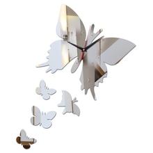 top fashion diy wall clock modern home decoration butterfly stickers Balcony acrylic mirror Quartz still life wall clocks