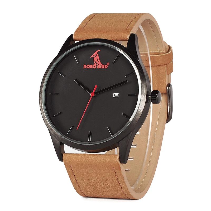 Image 2 - BOBOBIRD Top Luxury Brand Quartz Watches Business Military Men Watches Leather relogio masculino Leather Strap Clock-in Quartz Watches from Watches