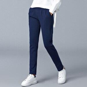 Image 5 - Grande taille lâche chaud Harem pantalon femmes automne hiver graisse femme velours épais pantalon décontracté pantalon de sport M 6XL