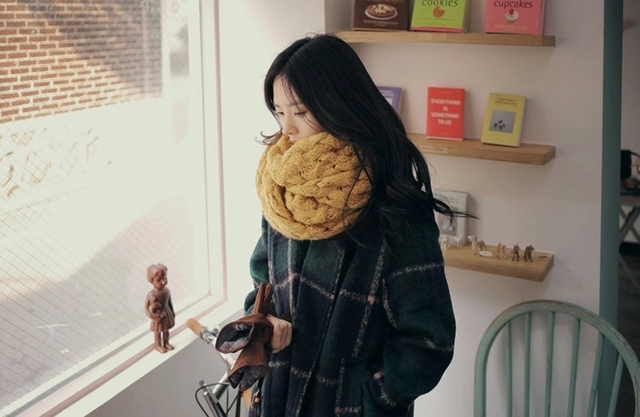 Women Wool & Blends Autumn/Winter Plaid Coat 1