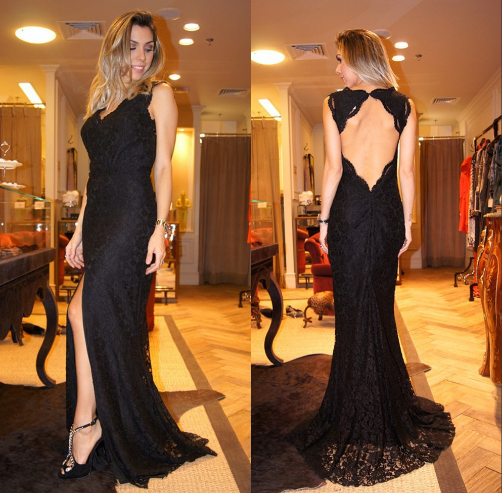 Vestido De Festa New Sexy Long   Prom     Dresses   Backless Sleeveless V Neck Black Lace Evening Gowns With Slit Front