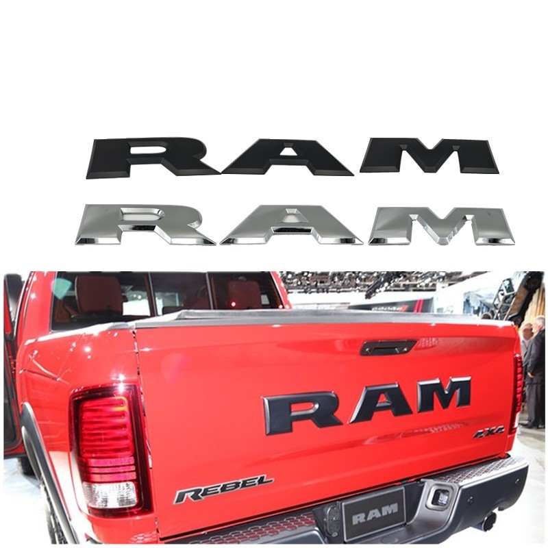 One set Car tailgate 3D RAM Letter Logo Emblem Rear Trunk Badge Sticker For Dodge Ram 1500 2015 2016 2017 2018
