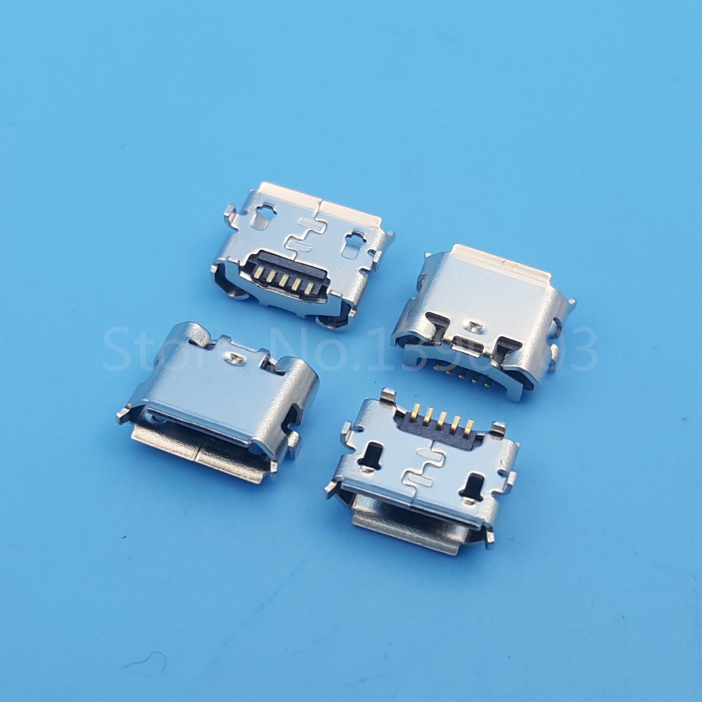 100Pcs Micro USB Type B 5Pin Female Horns Reverse SMT Socket PCB Solder Connector wholesale 20 pcs micro usb type b female 5 pin smt placement smd dip socket connector plug adapter