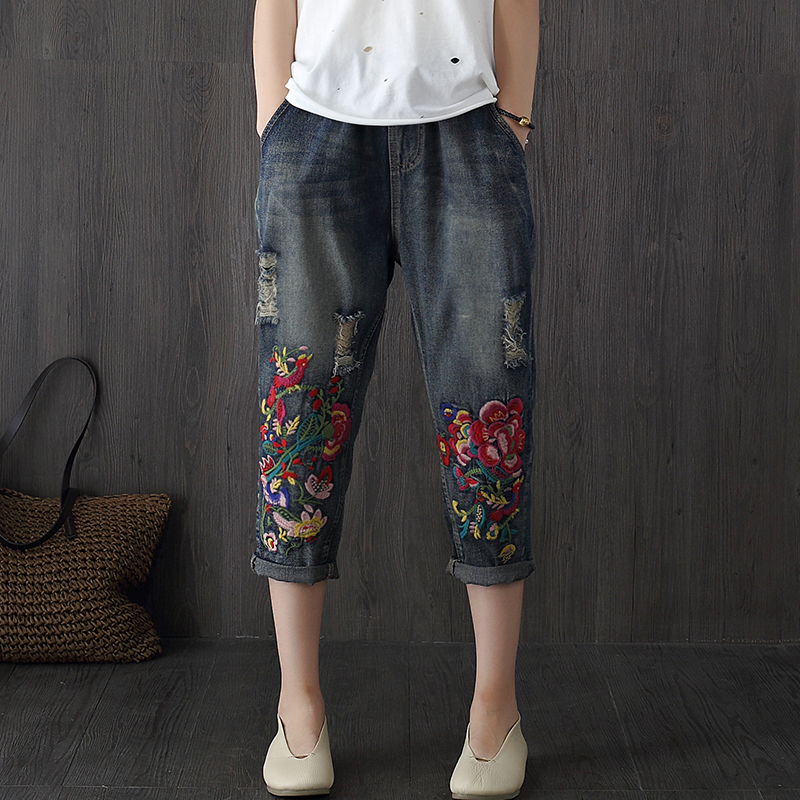 Vintage Embroidered Jeans Woman 2018 New Spring Summer Harem Jeans Women Casual Elastic Waist Denim Pants F188 2017 spring new embroidered jeans color embroidered national wind low waist jeans trousers