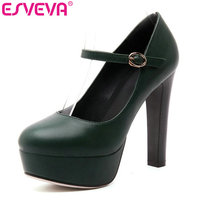 ESVEVA 2017 Super Thin High Heel Woman Pumps Vintage Style Green Spring Autumn Women Shoes Platform