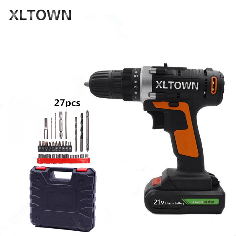 XLTOWN new 21v screwdriver mini cordless electric drill rechargeable lithium battery electric screwdriver household power tools xltown 21v electric screwdriver multifunction rechargeable lithium drill electric household cordless electric drill power tools