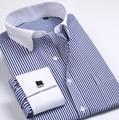 5XL6XL Смокинг Рубашка Французский манжеты рубашки Мужские Рубашки Новый Люкс С Длинным Рукавом Марка Деловых Мода рубашки Платья Плюс размер