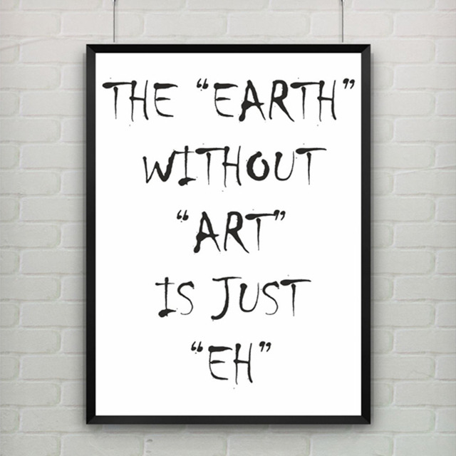 Abstract EARTH Epigram Canvas Painting Black White Wall Art Posters - Painting quotes