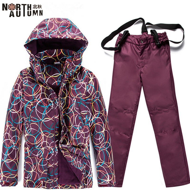 Pas cher Ski Costumes Pour Femmes Ski Veste Polaire Chaud Hiver Femmes Snowboard Ensembles Étanche Sport Costume Pour Femmes de Ski pantalon