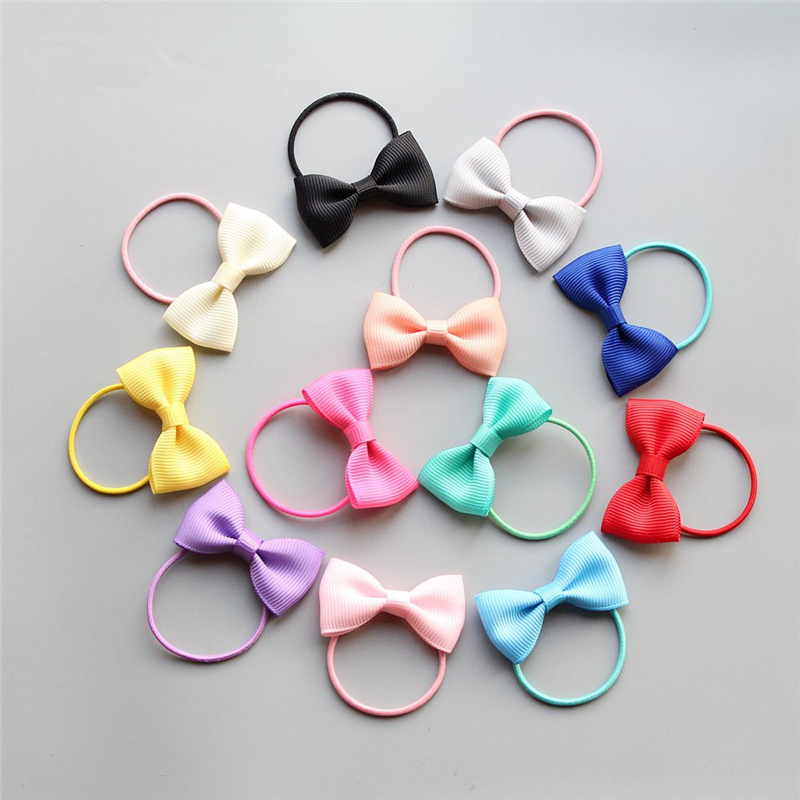 10pcs New Small Bowknot Girls Hair Accessories Princess Headwear Kids Elastic Hair Bands Baby Headdress Children Hair Ropes