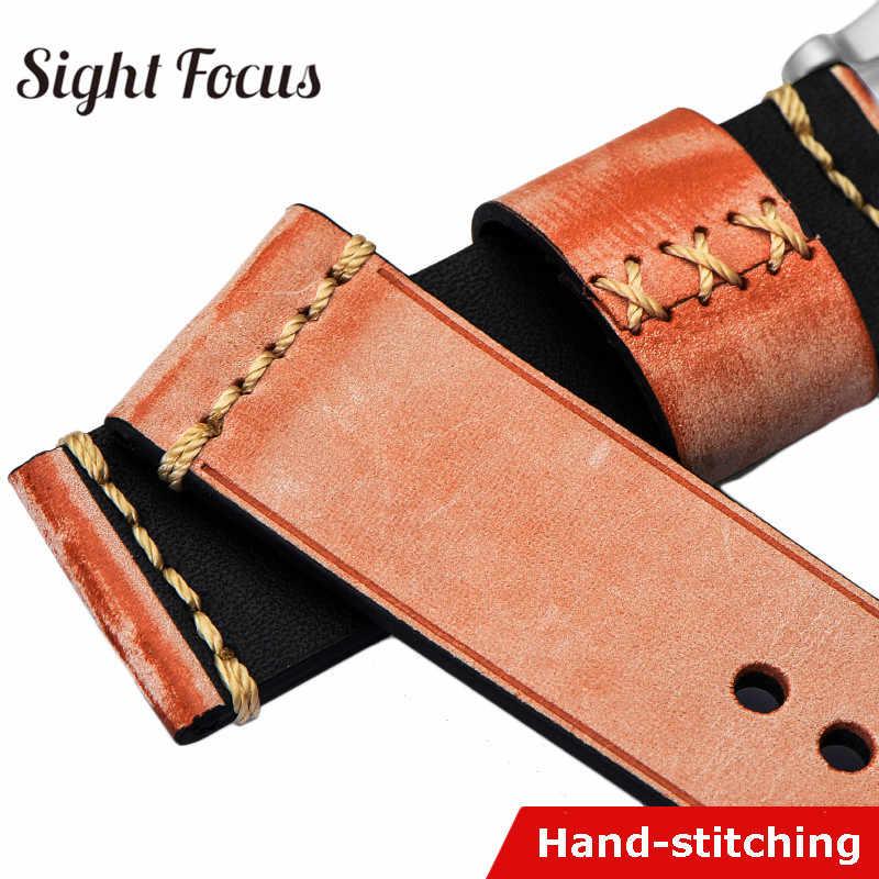 Vintage นาฬิกาหนังสำหรับ Panerai Watchband อุปกรณ์เสริม Vegetble Tanning 20 22 24 26mm ผู้หญิงผู้ชายเข็มขัด