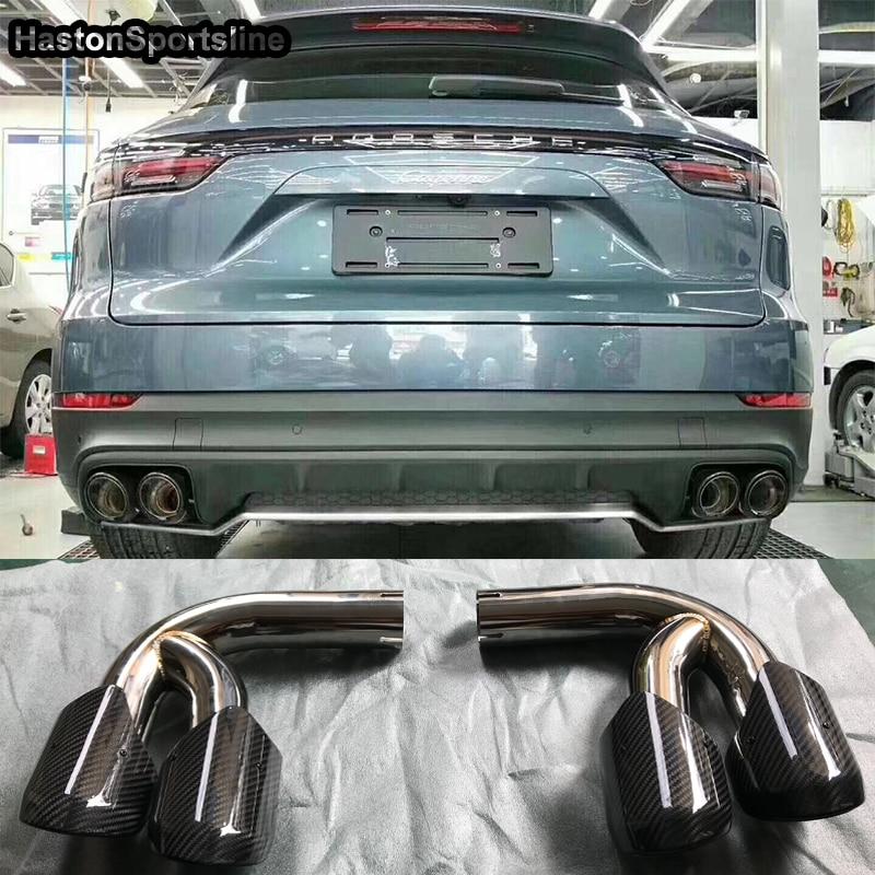 Carbon Fiber Rear Exhaust Tips Muffler Pipe for Porsche Cayenne Cayenne s GTS 2018 2019+Carbon Fiber Rear Exhaust Tips Muffler Pipe for Porsche Cayenne Cayenne s GTS 2018 2019+