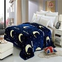 Cartoon Night Sky Moon Pattern Super Soft Cheap Flannel Fleece Throw Blanket On The Bed Winter
