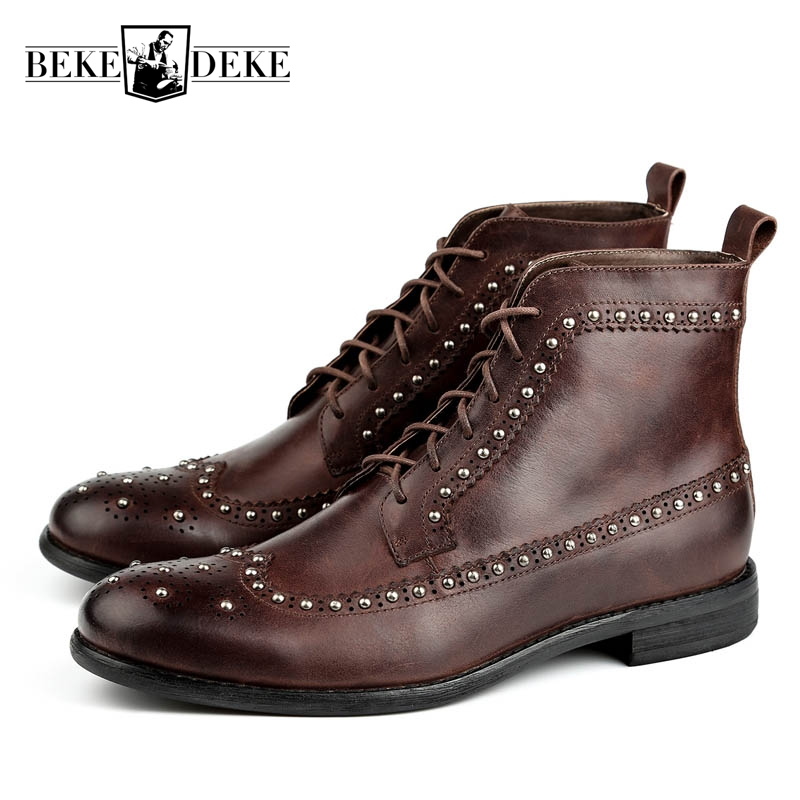 Vintage Retro Mens Cow Genuine Leather Lace Up Motorcycle Biker Boots Round Toe Male Ankle Boots Low Heel Wing Tip Brogue Shoes цена