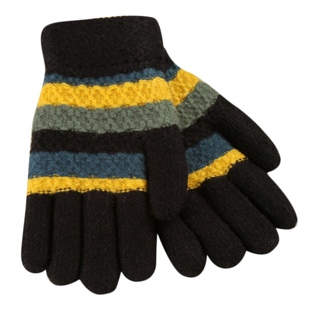Fashion Toddler Baby Gloves Thicken Girls Boys Striped Full Finger Warm Winter Knitted Mittens Kids Gloves gants enfant