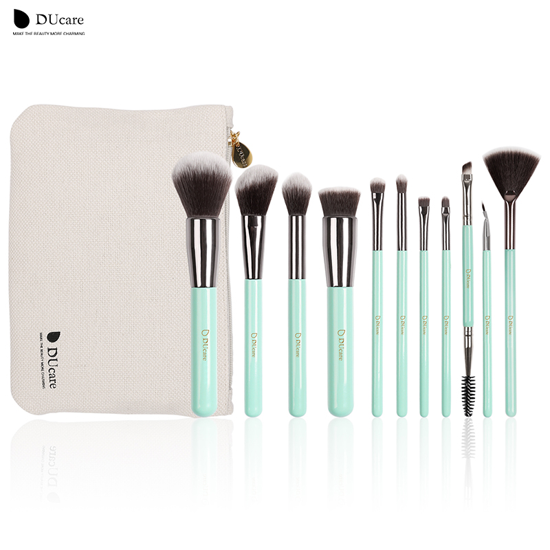 DUcare make-up borstels 11PCS professionele borstels lichtgroene borstel set hoogwaardige borstel met zak draagbare make-up kwasten