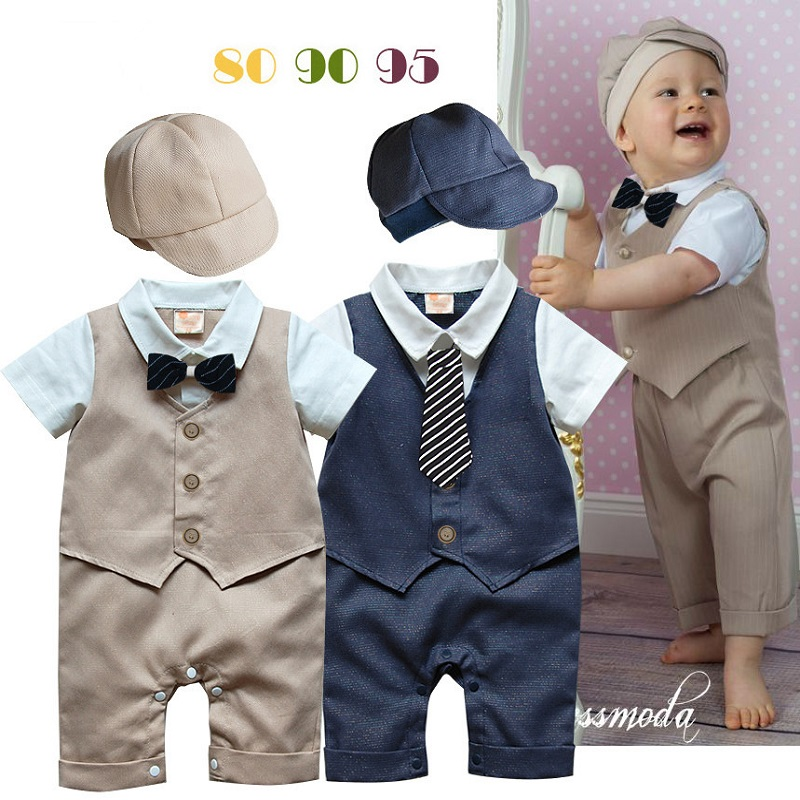 2018 Navy Beige Fashion Baby Boys Clothes 0-2Years Baby Rompers Tuxedo Jumpsuit+Hat Vest Baby Clothing Set Costume Party Dress