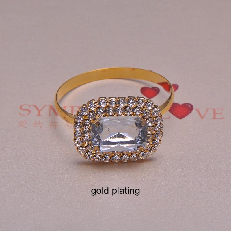 J0103 ring 25X30mm rhinestone napkin ring for wedding table decoration gold plating ring size 40mm