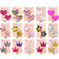 15 Colors Baby Girl Hairpin Shiny Crown Pentagram Heart Shape Princess Hair Clip Little Star Cute Headwear Accessories Wholesale