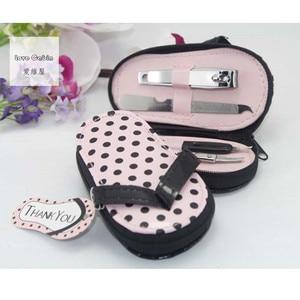 Image 4 - Pink Polka Purse Slippers Shaped Cute Creative Manicure Set Wedding Gift Favors 20sets Nail tools