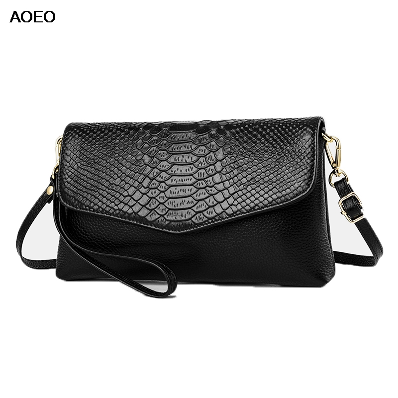AOEO Genuine Leather Bags For Women Crossbody Snake Texure Clutch Messenger Bag Female Magnetic Buckle Shoulder