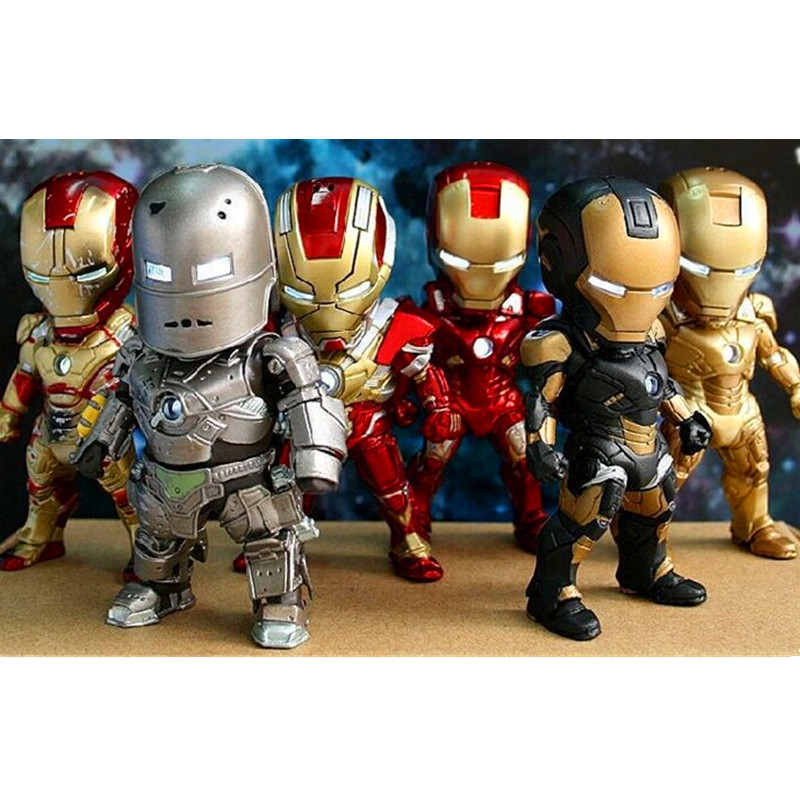 Justice League Superhero The Avengers 6pcs / set Iron Man PVC models Action Figure Collectible Model Toy Movable Retail box Y94 xinduplan marvel shield iron man avengers age of ultron mk45 limited edition human face movable action figure 30cm model 0778
