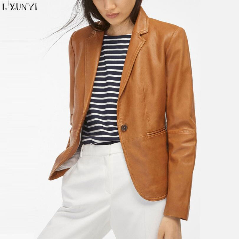 Spring   leather   jacket Women 2019 Europe Style Short   leather   Coat Female OL Slim Office Womens jackets And Coats Casual Brown Hot