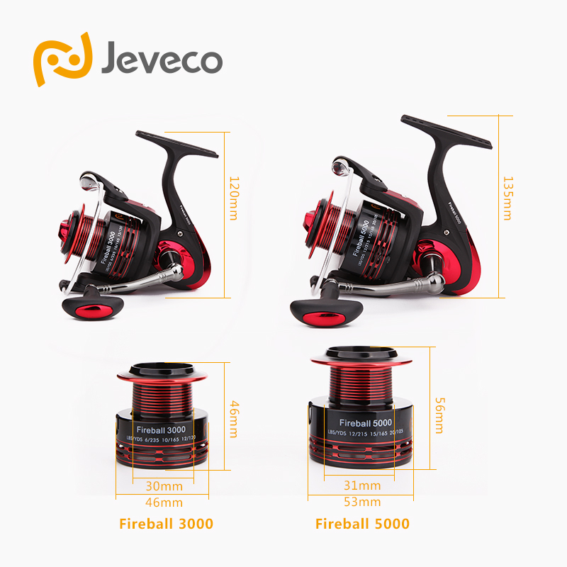 Jeveco FireBall Spinning Angelrolle, Lure Reel Fishing 5.5: 1 6 + - Angeln - Foto 5