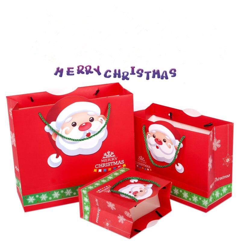 Exquisite Packing Paper Bags Christmas Eve bag Tote Gift bag Santa Claus Wapiti 10PCS