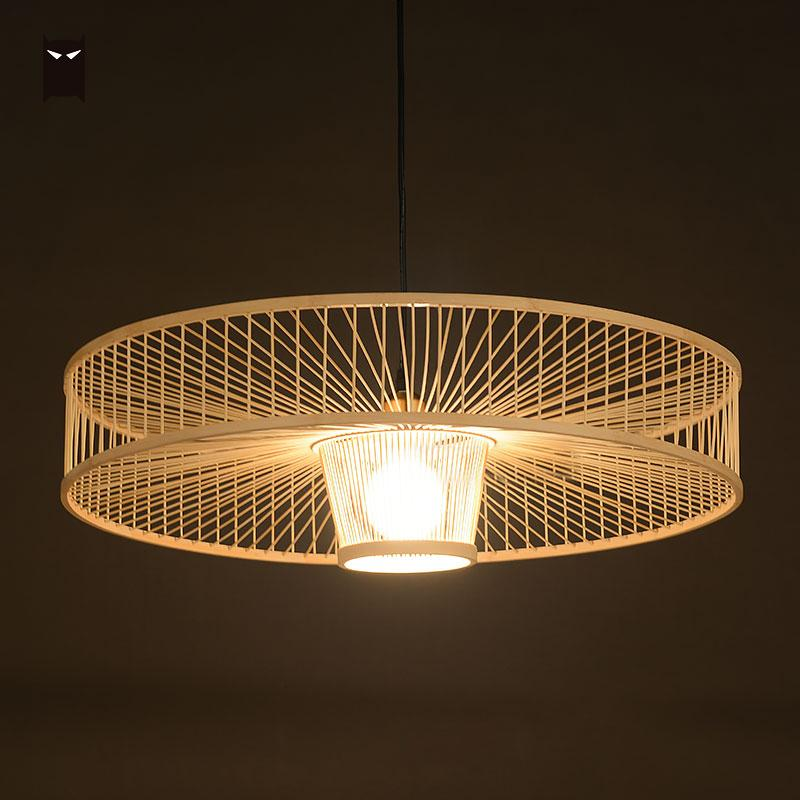 Hand Bamboo Wicker Rattan Pendant Light Fixture Modern